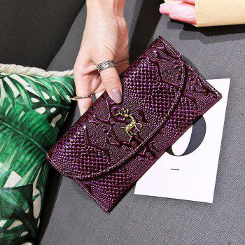 Embossed Faux Leather Clutch Wallet -  PURPLE