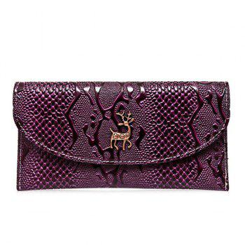 Embossed Faux Leather Clutch Wallet - PURPLE PURPLE