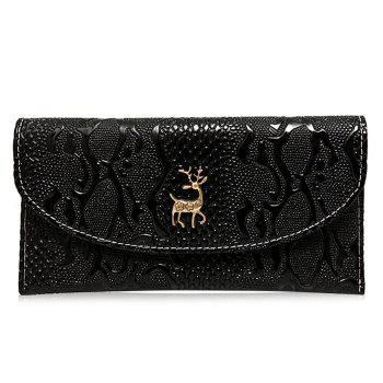 Embossed Faux Leather Clutch Wallet - BLACK BLACK
