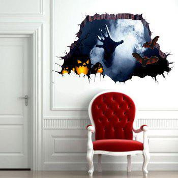 3D Hand Pumpkin Halloween Wall Sticker - BLACK