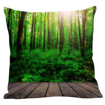 Sunlight Forest Printed Pillowcase - GREEN W18 INCH * L18 INCH