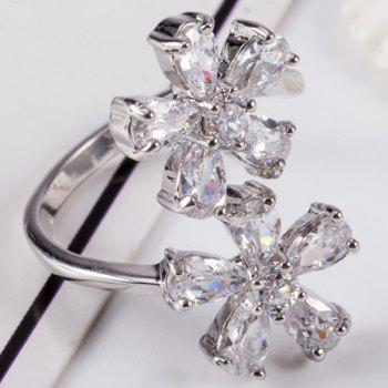 Rhinestone Inlay Double Floral Design Ring - 6 6