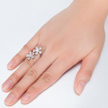 Rhinestone Inlay Double Floral Design Ring - SILVER 6