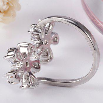 Rhinestone Inlay Double Floral Design Ring - 7 7
