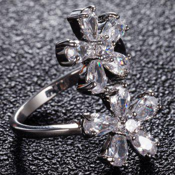 Rhinestone Inlay Double Floral Design Ring - 8 8