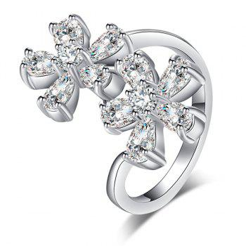 Rhinestone Inlay Double Floral Design Ring - 9 9