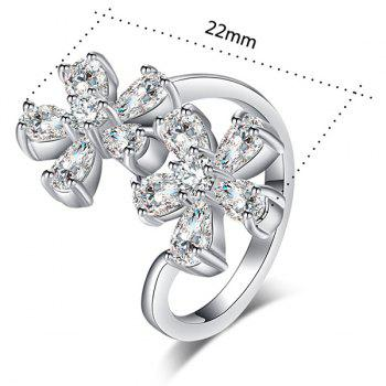 Rhinestone Inlay Double Floral Design Ring - SILVER SILVER
