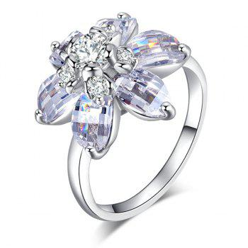 Flower Shape Artificial Crystal Inlaid Ring - 7 7