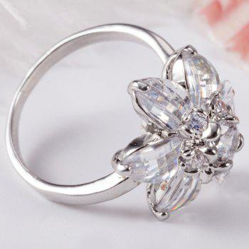 Flower Shape Artificial Crystal Inlaid Ring - SILVER SILVER