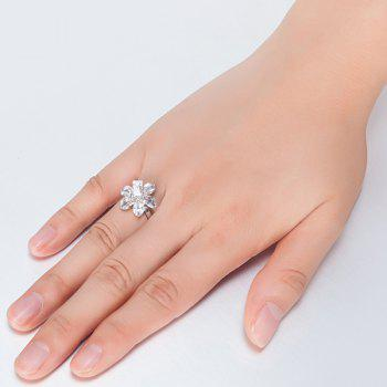 Flower Shape Artificial Crystal Inlaid Ring - SILVER 8