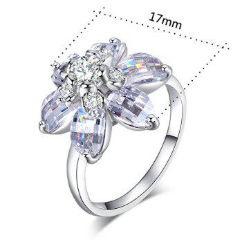 Flower Shape Artificial Crystal Inlaid Ring - 9 9