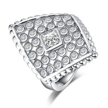 Faux Diamond Inlaid Rhombic Shape Ring - Argent 7