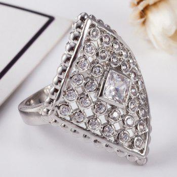 Faux Diamond Inlaid Rhombic Shape Ring - Argent 8