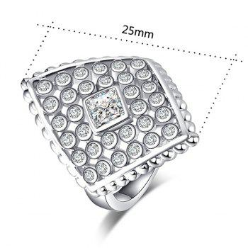 Faux Diamond Inlaid Rhombic Shape Ring - Argent 9