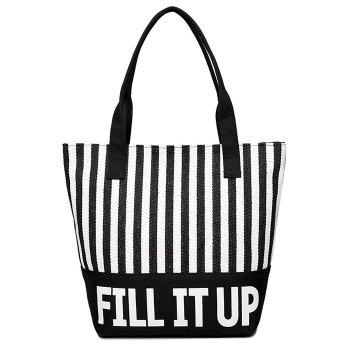 Striped Pattern Canvas Shoulder Bag