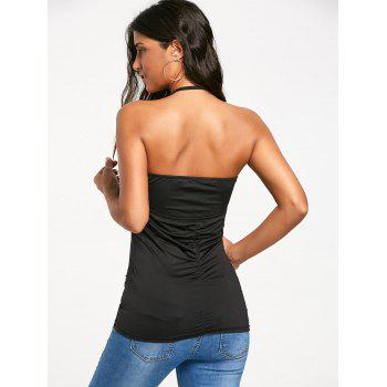 Backless Cowl Halter Neck Tank Top - BLACK XL