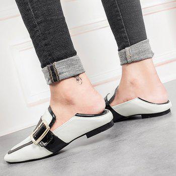 Buckle Strap Square Toe Loafers - 37 37