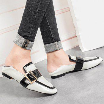 Buckle Strap Square Toe Loafers - Blanc 38