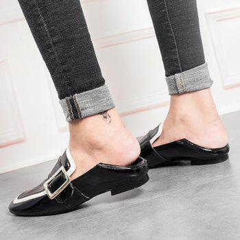 Buckle Strap Square Toe Loafers - 39 39