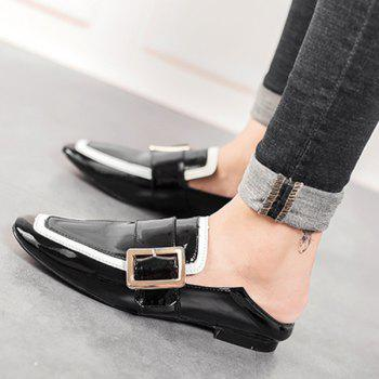 Buckle Strap Square Toe Loafers - Noir 37