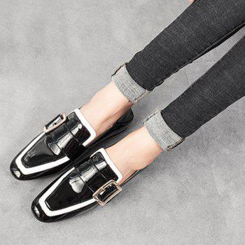 Buckle Strap Square Toe Loafers - BLACK BLACK