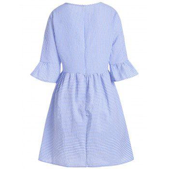 Flare Sleeve Casual Striped Dress - BLUE BLUE