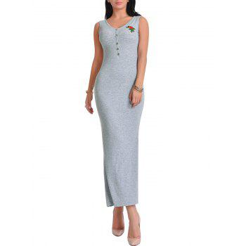 Floral Embroidered V Neck Maxi Dress - ONE SIZE ONE SIZE