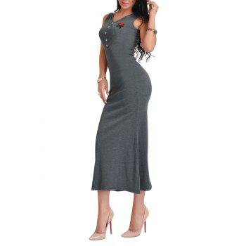 Floral Embroidered V Neck Maxi Dress - DEEP GRAY ONE SIZE