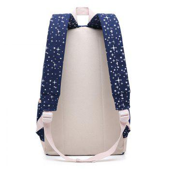 3 Pieces Star Print Canvas Backpack Set - DEEP BLUE