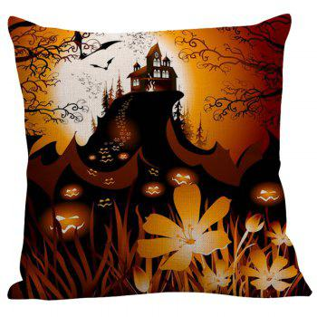 Pumpkin Face Floral Pattern Halloween Pillow Case - W18 INCH * L18 INCH W18 INCH * L18 INCH
