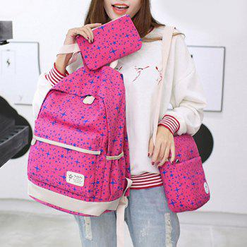 3 Pieces Star Print Canvas Backpack Set - ROSE RED