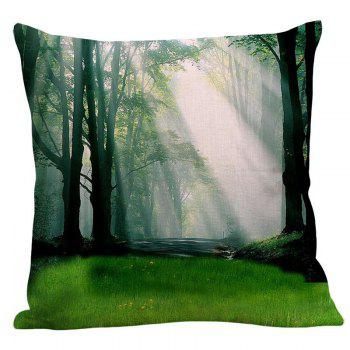 Sunshine Forest Pattern Square Pillow Case - W18 INCH * L18 INCH W18 INCH * L18 INCH