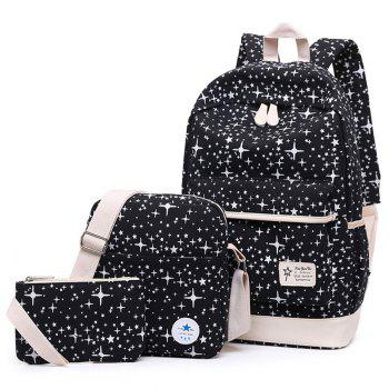 3 Pieces Star Print Canvas Backpack Set