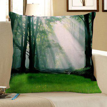 Sunshine Forest Pattern Square Pillow Case - GREEN W18 INCH * L18 INCH