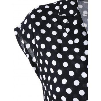 Notched Collar Polka Dot Swing Dress - BLACK 2XL