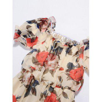 Chiffon Off The Shoulder Floral Print Dress - S S