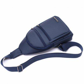 Zippers Nylon Front Crossbody Bag - BLUE