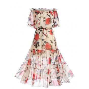Chiffon Off The Shoulder Floral Print Dress