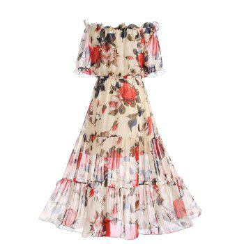 Chiffon Off The Shoulder Floral Print Dress - FLORAL FLORAL