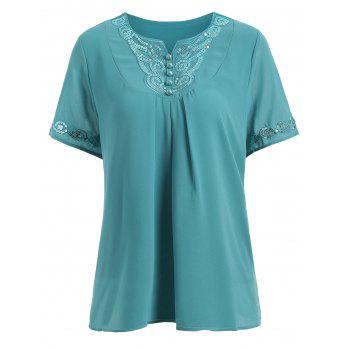 Short Sleeve Sequin Chiffon Plus Size Top