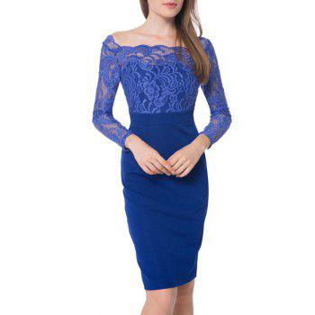 Floral Lace Panel Boat Neck Bodycon Dress