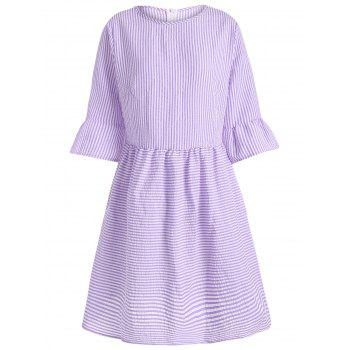 Flare Sleeve Casual Striped Dress - PURPLE S