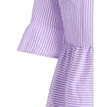 Flare Sleeve Casual Striped Dress - S S