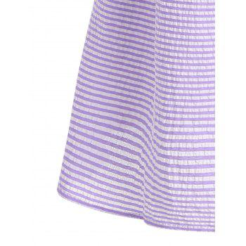 Flare Sleeve Casual Striped Dress - PURPLE PURPLE