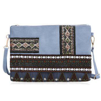 Floral Embroidery Faux Leather Crossbody Bag