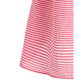 Flare Sleeve Casual Striped Dress - RED RED