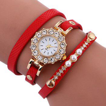 Sun Shape Rhinestone Wrap Bracelet Watch