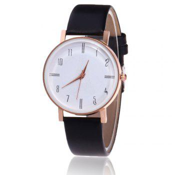 Faux Leather Minimalist Number Watch - BLACK BLACK