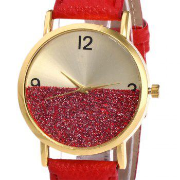 Faux Leather Glitter Face Watch - RED