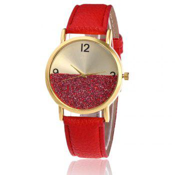 Faux Leather Glitter Face Watch - RED RED